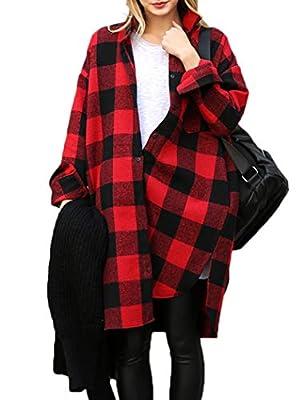 Moschifia Womens Flannel Plaid Shirts Long Sleeve Pockets Mid-Long Casual Boyfriend Shirts