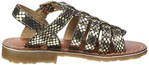 L'ATELIER TROPEZIEN Sandales Print - Zapatos de primeros pasos Bebé-Niños Negro (Black Gold)