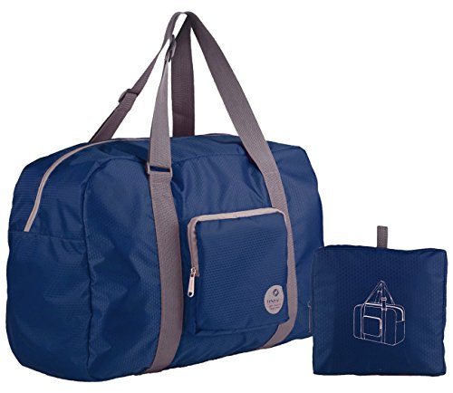 Wandf Foldable Travel Duffel Bag Luggage Sports Gym Water Resistant Nylon (Navy Blue)