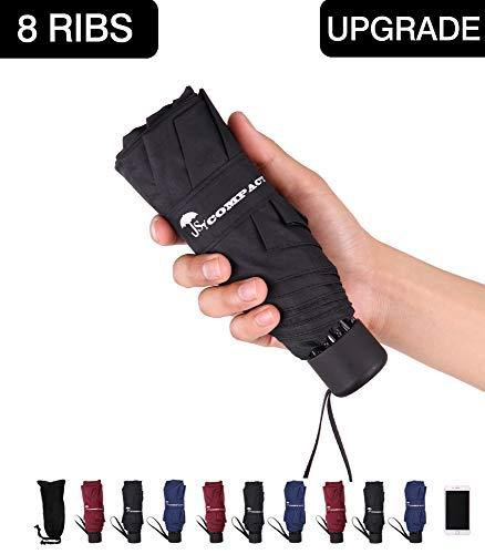 SY COMPACT Travel Umbrella - Lightweight Portable Mini Compact Umbrellas-Factory Outlet Shop (Black)