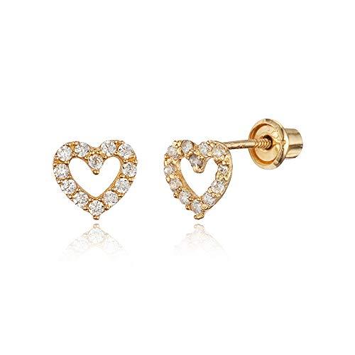 14k Yellow Gold White Heart Cubic Zirconia Children Screwback Baby Girls Earrings