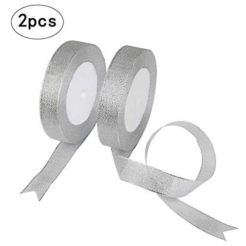 Organza Ribbon,KAKOO 2 Pack 25 Yard 20mm Wide Glitter Trimmings Decorative Ribbons for Gift Wrapping (20 Sheer Ribbon Bow)