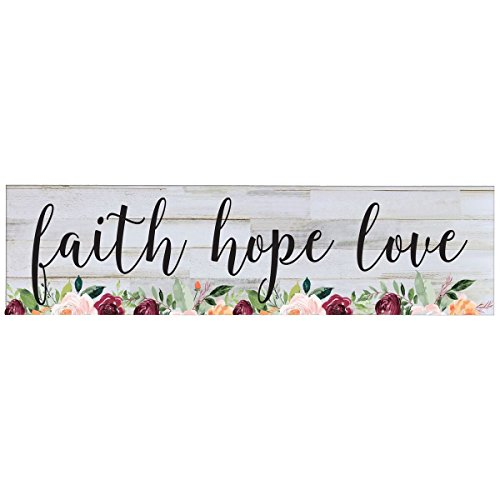 Faith Hope Love wall art decor Print decoration sign Gift for livingroom entryway kitchen bedroom By LifeSong Milestones (By Faith Love Plaque)