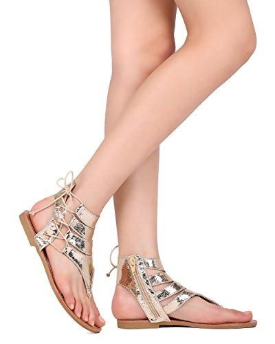 Metallic T-strap Sandals - 6