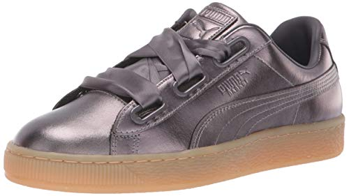 Patent Men Sneakers - PUMA Women's Basket Heart Patent Sneaker, Quiet Shade, 10 M US