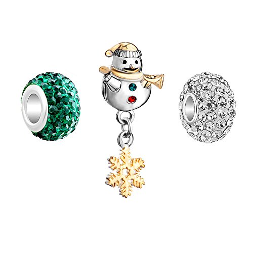 (Lifequeen Christmas Snowman Snowflake Birthstone Charms Set for Snake Chain Bracelets (Green&White) )