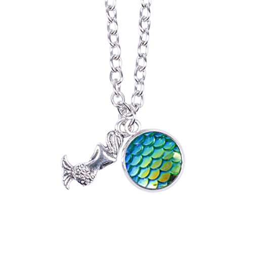 Myhouse Women Girls Colorful Fish Scales Pattern Mermaid Pendant Necklaces for Gifts Charms Findings (Green) (For Necklaces 2 Dollars)