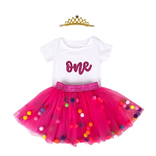 Baby Girls 1st Birthday Outfit Glitter One Romper Balls Skirt Crown Headband (Hot Pink01, 9-12Months) -