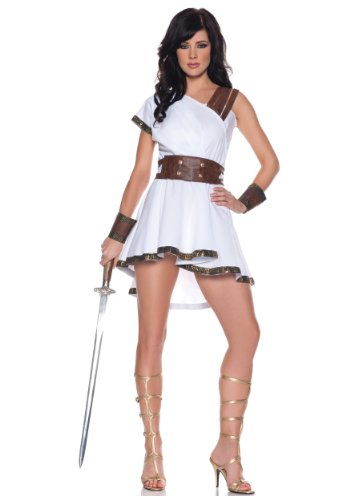 Women's Sexy Gladiator Costume - Olympia, White/Brown, Medium (Gladiator Costumes For Women)
