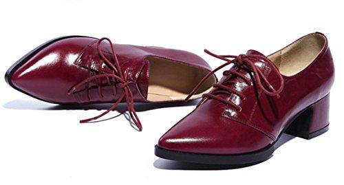 YCMDM donne del cuoio genuino Scarpe comode per il tempo libero di moda primavera autunno-inverno chiaro Rosa Viola Rosso Nero 34 35 36 37 38 39 , purple red , 120W