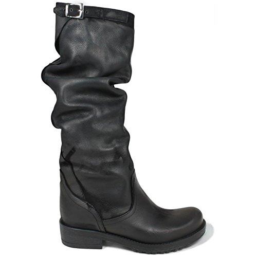 best sneakers 408fc dba2a In Time Stivali Biker Boots Gambale Alto Donna 0159 Nero Arricciati in Vera  Pelle Made in Italy