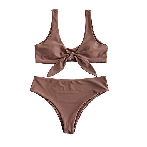 Brown Bikini Swimsuit - ZAFUL Women Front Knot Padded Bikini Set Sexy Strap Swimsuit Brown