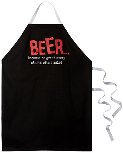 """Attitude Aprons Fully Adjustable """"Beer... Because No Good Story Starts With A Salad"""" Apron-Black"""