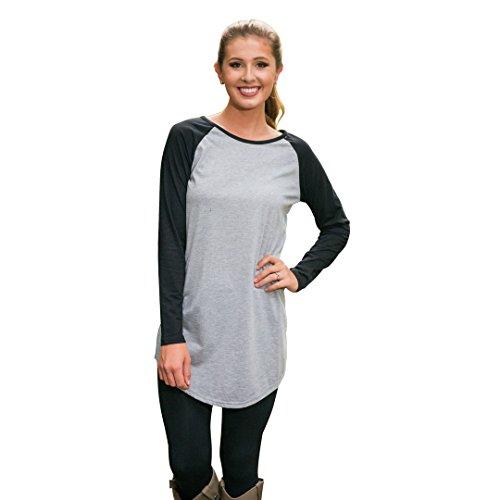 Newbestyle - Camiseta de manga larga - para mujer gris