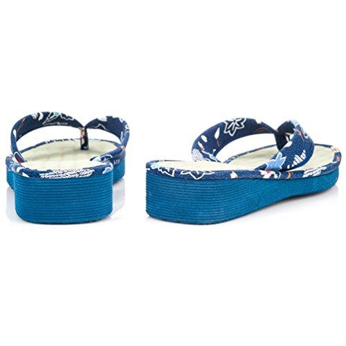 Sandales Tatami japonais Motif fleuri Bleu