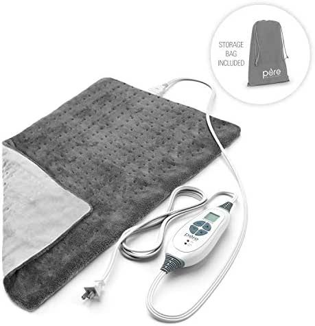 Pure Enrichment PureRelief XL King Size Heating Pad (Charcoal Gray) - Fast-Heating Machine-Washable Pad - 6 Temperature Settings, Moist Heat Therapy Option, Auto Shut-Off and Storage Bag - 12