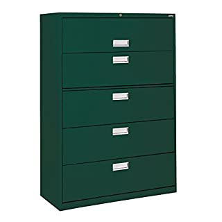"Sandusky Lee LF6A365-08 600 Series 5 Drawer Lateral File Cabinet, 19.25"" Depth x 66.375"" Height x 36"" Width, Forest Green"