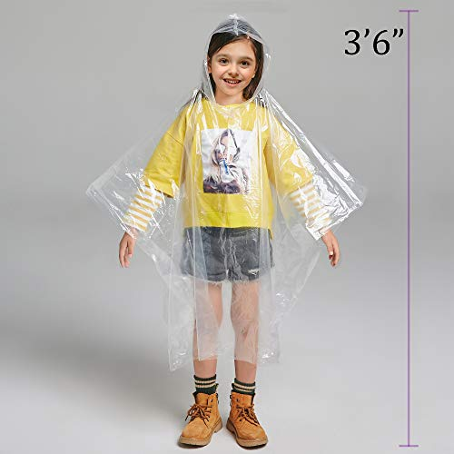 Disposable Rain Ponchos for Adults by(6 Pack) Including Drawstring Hood and Premium Quality 50% Thicker Material 100% Waterproof Emergency Rain Ponchos for Kids-Clear White (Clear Kids 6 Pack) by Timoch (Image #1)