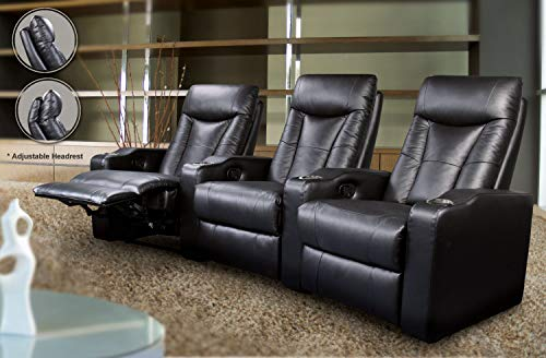 Coaster Home Furnishings Pavillion Home Theater Adjustable Headrest Element Recliner Black