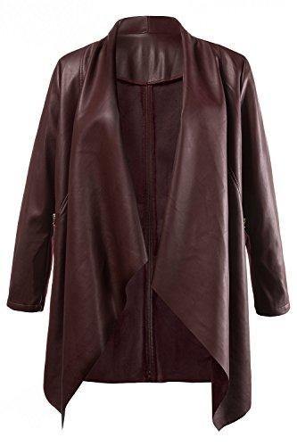 Ulla Popken Women's Plus Size Faux Leather Wrap Round Jacket/Cardigan...
