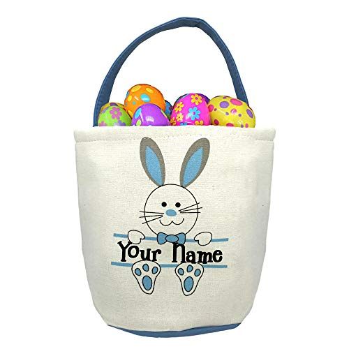 (Personalized Blue Easter Basket with Bunny Rabbit and Name Banner Custom Egg Hunt Tote Bag - Your Choice of Free)