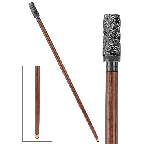 Design Toscano Tiki Luau Cast Metal Handle Hardwood Walking ()