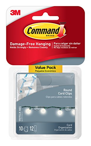 Command Round Cord Clips, Clear, 10-Clips