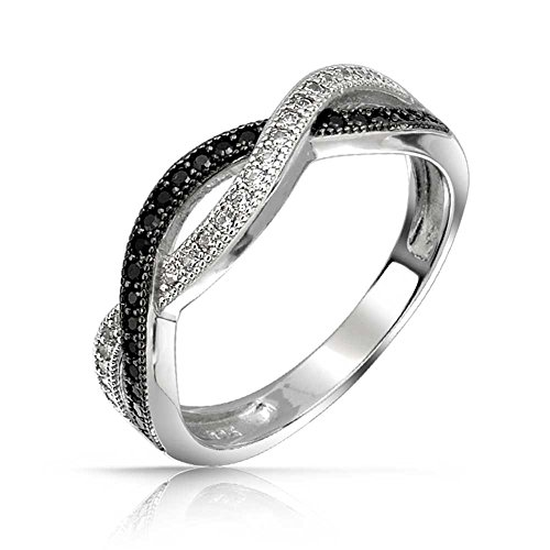 Two Tone Black And White Pave Cubic Zirconia CZ Infinity Band Ring For Women For Girlfriend 925 Sterling Silver