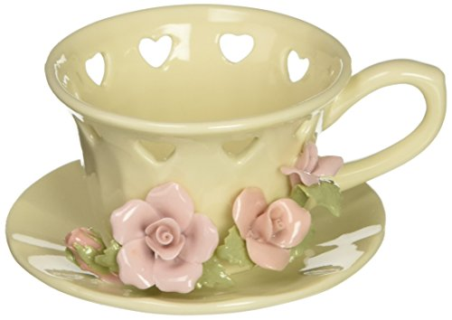 Figurines Glass Candle Holder (Cosmos 1011 Fine Porcelain Rose Cup Tea Light Holder, 3-Inch)