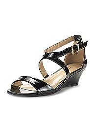 DREAM PAIRS JONES New Women Fashion Wear Summer Crossover Thong Design Low Wedge Dress Pumps Sandals