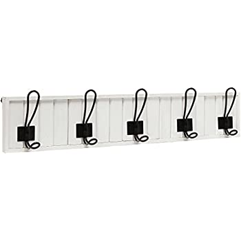 Decorative Wall Mounted White Wood & 5 Black Metal Dual Coat Hooks Entryway Rack / Bathroom Towel Hanger