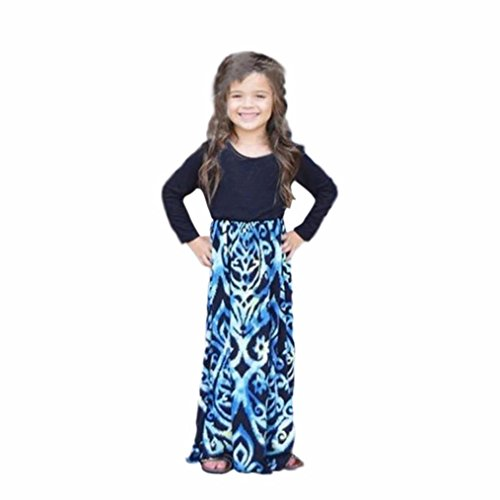 Misaky Daughter Long Sleeve Printing Stitching Dress Girls Dress (120CM(Age:7T), Daughter)