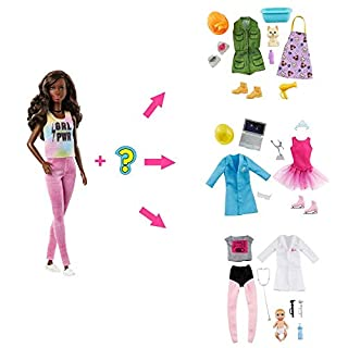 Barbie Surprise Doll, Brunette with 2 Career Looks and Accessories