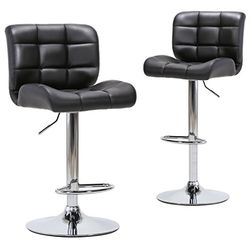 Chiming Chrome Round Base Swivel Bar Stools Black PU Leather Adjustable Chair, Set of 2 (Chrome Wide Bar Stool)