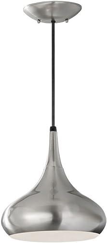 Feiss P1253BS Beso Glass Pendant Lighting, Satin Nickel, 1-Light 10 W x 10 H 100watts