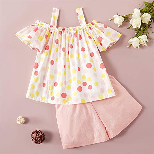 Toddler Girls Clothes Off Shoulder Tops Lace Bowknot Shirt and Floral Short Pants Outfit Set