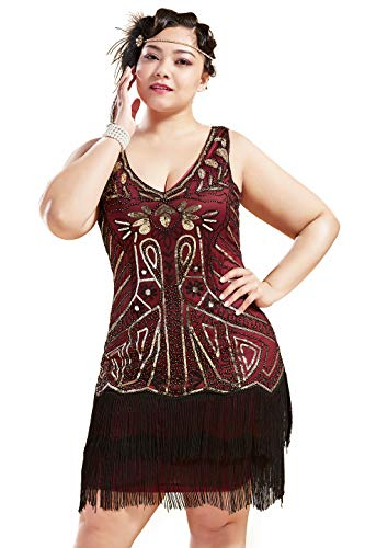 BABEYOND Women's Plus Size Flapper Dresses 1920s V Neck Beaded Fringed Great Gatsby Dress (Gold & Wine Red, 2X -