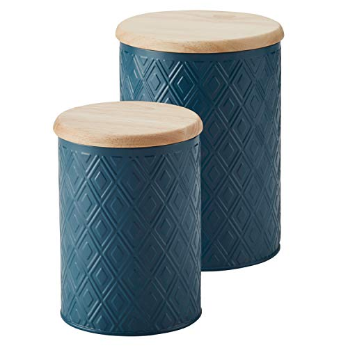 Ayesha Pantryware Small and Medium Metal Canister Set, Twilight Teal
