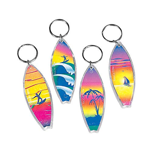 Fun Express - Surfboard Key Chains for Spring - Apparel Accessories - Key Chains - Novelty Key Chains - Spring - 12 Pieces