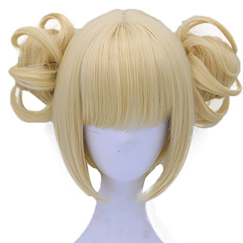 Anogol Hair Cap+613 Blonde Wigs Anime Cosplay Wigs Short Wavy Synthetic Hair With Bangs Fringe Hairstyles For Lonita Party -