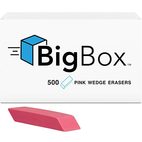 Pink Wedge Erasers (Case of 500) by Big Box (Image #1)