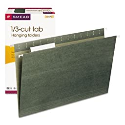 Hanging Folders, 1/3 Tab, 11 Point Stock, Legal, Green, 25/Box, Sold as 25 Each