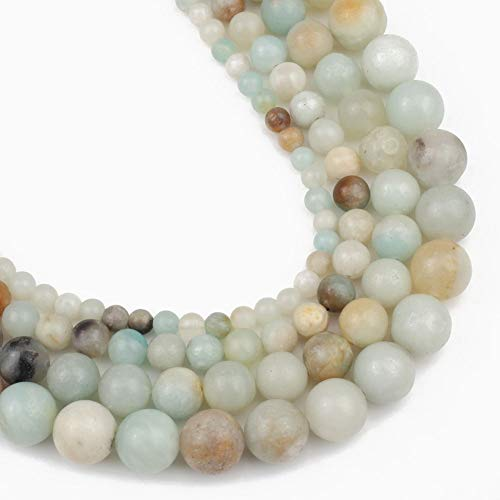 Yochus 10mm Colorful Amazonite Round Loose Beads Natural Stone Beads for Jewelry Making