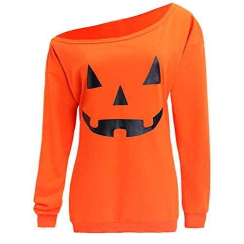Dutebare Women Halloween Sweatshirt Off Shoulder Pumpkin Shirt Slouchy Long Sleeve Pullover Tops Orange -