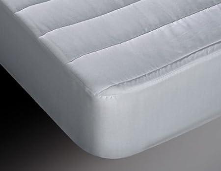 Burrito Blanco Protector de Colchón Acolchado y Transpirable Algodón 100% para Cama de Matrimonio de 150x190 cm hasta 150x200 cm, Color Blanco: Amazon.es: Hogar