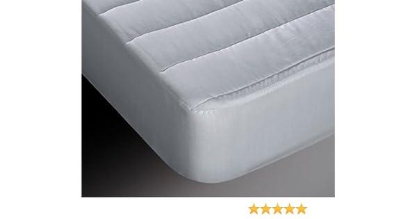 Burrito Blanco Protector de Colchón Acolchado y Transpirable Algodón 100% para Cama de Matrimonio de 180x190 cm hasta 180x200 cm, Color Blanco: Amazon.es: ...