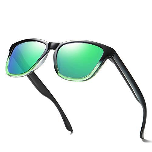 ELITERA Women Sunglasses Famous Lady Designer Gradient Colors Polarized Glasses UV400 E0717 (Black&Green, ()