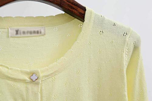 Lunga Giacca Baggy Moda Battercake Autunno Gelb Collo Manica Corto Casuale Libero Cardigan Tempo Camicetta Donna Button Knit Colore Tops A Puro Rotondo Elegante Donne Maglia wqn7npx14