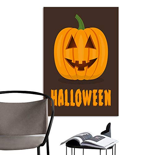 Canvas Wall Art Painting Halloween pumpkin with smile face Cute happy pumpkin for banner poster party invitation greeting card Vector illustration .jpg Nature Canvas Artwork Home Office Wall 16