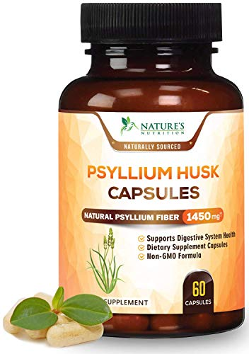 Psyllium Husk Capsules, Max Potency Dietary Fiber 1450mg - Psyllium Powder Supplement, 100% Soluble Pills, Helps with Constipation, Digestion, Intestinal Health and Natural Weight Loss - 60 Capsules